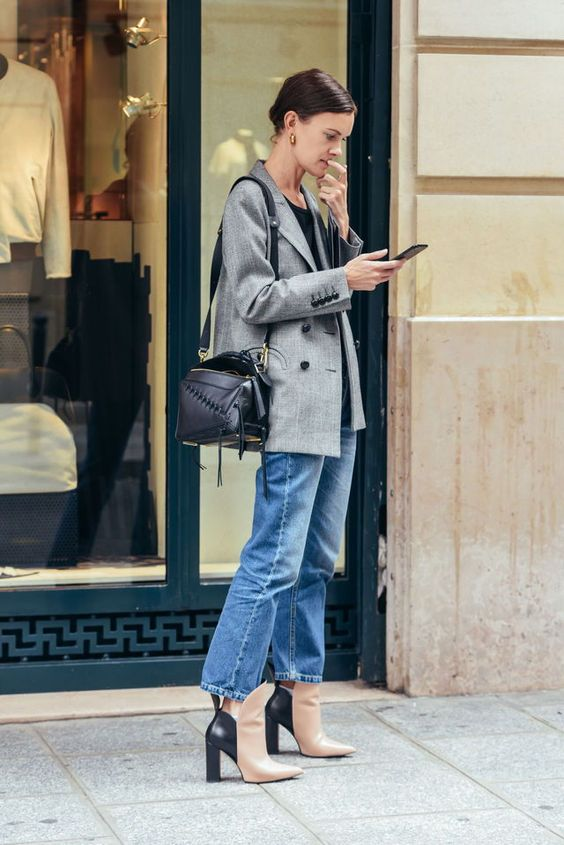street style model on phone